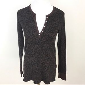 Leopard Print Thermal Henley